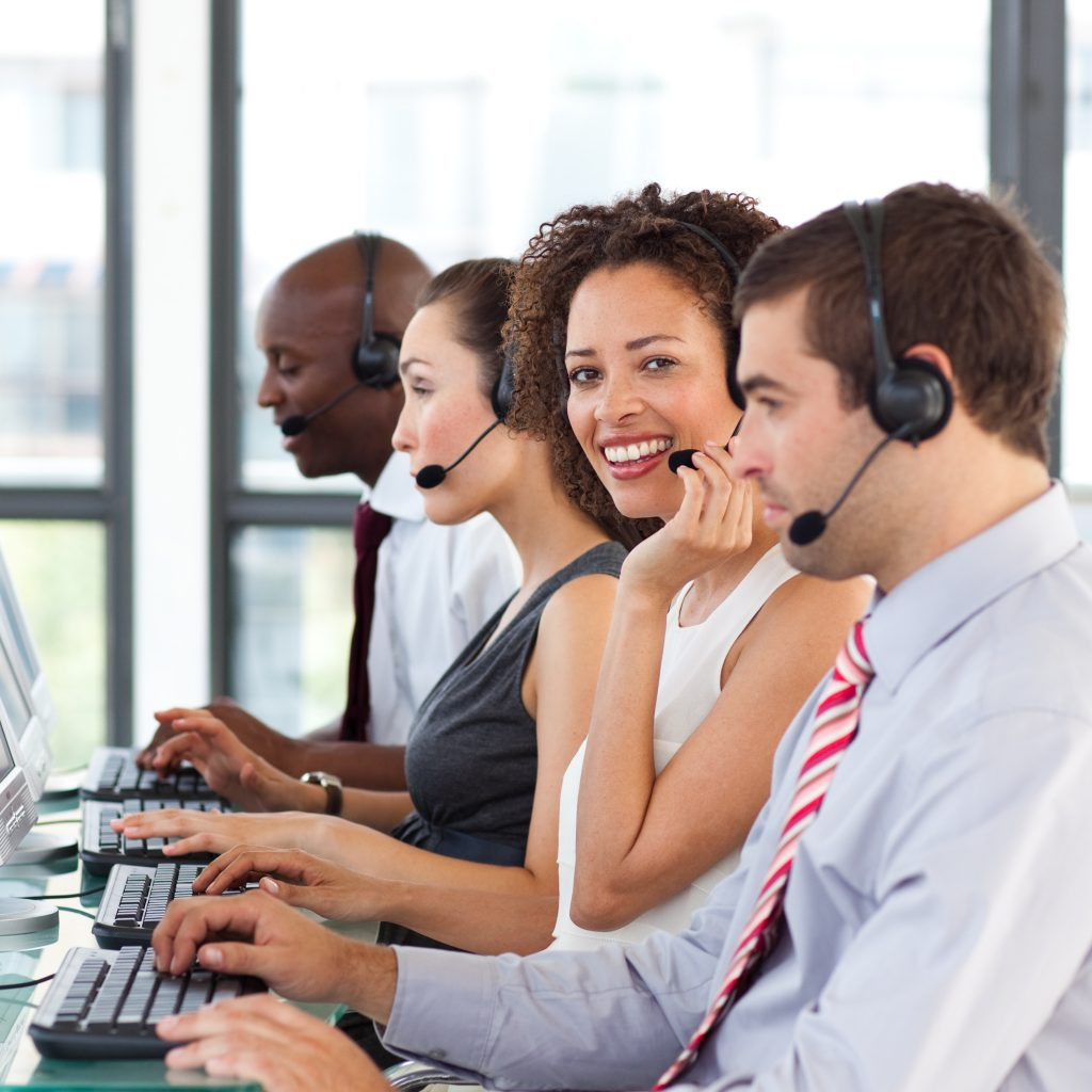 Call center personnel in action